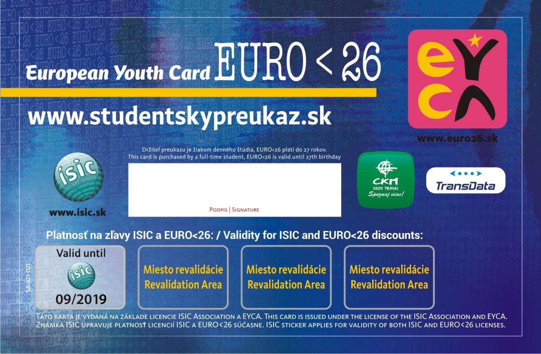 ISIC EURO 26 s platnost na zadnej strane