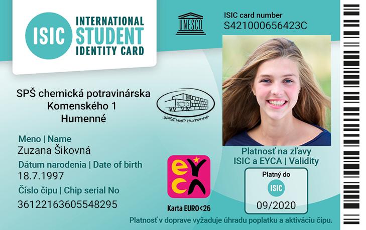619243b11 Objav preukaz žiaka ZŠ a SŠ- ISIC/EURO26 a jeho výhody a zľavy